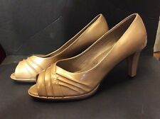 NWOT Soft Style By Hush Puppies  Open Toe Tan Patent High Heel Shoes Size 11M