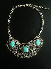 Necklace Silver Turquoise Filigree Ethnic Boho Belly Dance Tribal Gypsy Bohemian