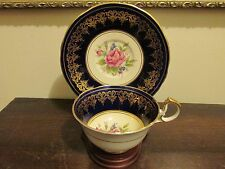Aynsley England Tea Cup And Saucer Сabbage Rose Cobalt Blue Gold