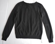 NEW Magaschoni New York Black Front:100%Cashmere Back:100%Silk Sweater Sz M $438
