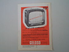 advertising Pubblicità 1959 TELEVISORE GELOSO A CINESCOPIO A 110''