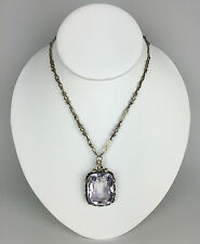 Vintage Austro-Hungarian Sculpted Silver Link Chain and Amethyst Pendant  Signed