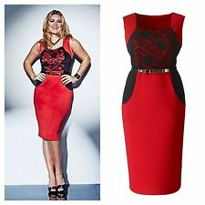 SIMPLY Be SZ 16 lovedrobe Rosso Nero Pizzo Illusione Cintura Dress Party Natale £ 49