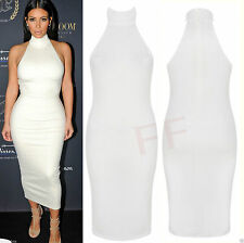 Womens Ladies Celebs Cage Neck Black Cut Out Bodycon Going Out Party Dress 8-14