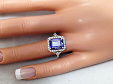 4.37Ct Genuine Natural Untreated Diamond And Tanzanite Ring Solid 14K White Gold