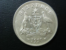 Australian Edward VII 1910 Sixpence 6d Scarce Lusture Sterling Silver Coin