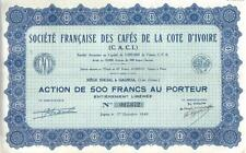 Africa France Colonial bond 1948 Society Coffee 500fr Uncancelled all coupons