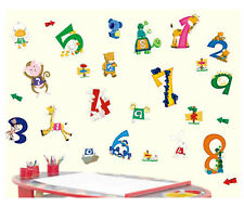 Animals Numbers Numeracy Bedroom Children's Blue Vinyl Wall Stickers LD626