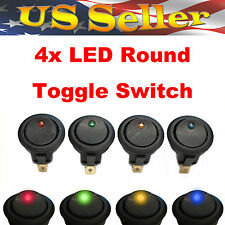 Red+Green+Yellow+Blue LED Light Round Rocker 12V 20A SPST Toggle Switch Car Boat