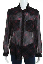 The Kooples Multi-Color Sheer Long Sleeve Plaid Print Button Down Blouse Size 2