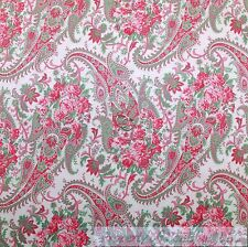 BonEful Fabric FQ Cotton Quilt White Pink Paisley Flower Large Shabby Chic Girl