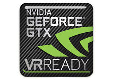 "nVidia GeForce GTX VR Ready 1""x1"" Chrome Effect Domed Case Badge / Sticker Logo"