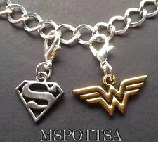 Wonder Woman Superman Silver Charm Bracelet Charms Clips Ons Purse Zipper Pulls