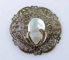 Vintage Estate Western Germany Mother of Pearl Gold Filigree Ornate Brooch Pin