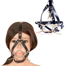 Leather belt Spider O ring Open Mouth Gag Head Harness Mask with Nose Hook BDSM