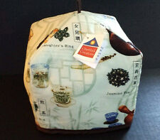 Tea Cosy Reversible Oriental Zen Tranquility Snow Lotus &Neutral Cream Print NWT