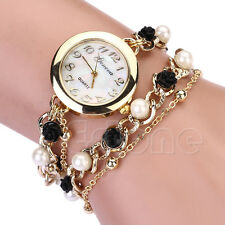 Charm Women Stunning Geneva Faux Pearl Flower Bracelet Quartz Analog Wrist Watch