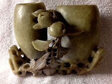Chinese Hand Carved Soapstone Double Urn Vase  MARKED/EXCELLENT