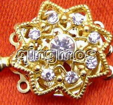 22mm Gold Plated octagon three strings Clasp & crystal-gp91 Free shipping