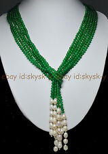 """AAA 50"""" Beautiful 3 Strands Natural 4mm Green Emerald Freshwater Pearl Necklaces"""