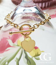 "9ct Yellow Gold Heart Charm T-Bar Bracelet 7"" GIFT BOXED"