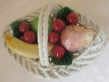 Signed Vintage White Ceramic Basket With Fruit  Spain ?  Italy ?
