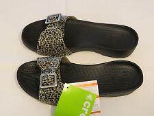 Crocs Sarah Leopard Sandal print black relaxed fit Womens W 8 shoe 203126-001