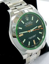 Rolex Milgauss 116400 Green Crystal Black Dial Oyster CARD *MINT*  NO RESERVE!!