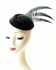 Black Blue Green Peacock Feather Pillbox Hat Races Fascinator Headpiece Vtg 1834