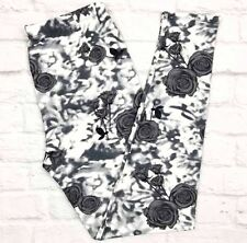 Buttery SOFT Gray & White Floral Leggings GORGEOUS Tall & Curvy XL Plus Roses TC