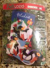 Dimensions Felt Works Playful Penguin Stocking Kit, #8093, Rare Kit