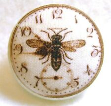 Hand Printed Fabric Button Steampunk Clock with Bee SP 25