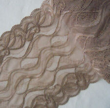 "8.5"" Wide Stretch Floal  Lace Light Brown y0348"