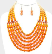Chunky Orange Pearl Multi Layered Bib Bead Statement Necklace Earring Set