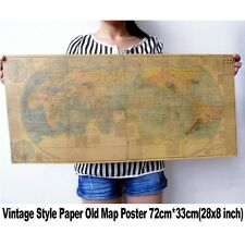 Large Vintage Retro Poster Globe Chinese China World Map Old Ancient 28 x 8 Inch