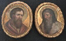 Paire de icône en bois peinte et doré fin 17ème début 18ème