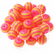 10pcs 20MM Resin Striped Beads Chunky Gumball Beads Pendant Bracelet Necklace