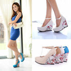 Hot Women's Ladies Ankle Strap Wedge High Heel Platform Pumps Shoes UK Size H777