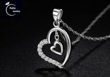 Women Double Heart 925 Sterlin Silver Jewelry Pendant Necklace Chain UK gift bag