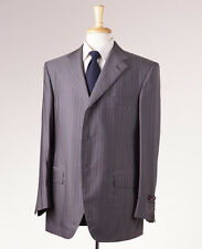 NWT $5795 D'AVENZA Super 180s Wool-Silk Suit 44 R Gray-Pink-Blue Stripe Handmade