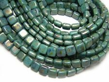 Czechmates 6mm Turquoise Bronze Picasso 2 Hole Tile Beads (50) #2214
