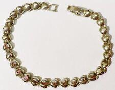 bracelet bijou vintage couleur or maillons coeur dont cristaux boréalis *4503