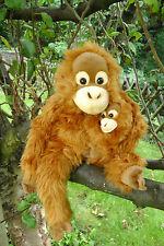 Orang-Utan, sitzend mit Baby 37 cm, Plüschaffe, Affe