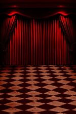 Red Drop Curtain Theater Stage Spotlight Floor Studio Star Photography Backdrops