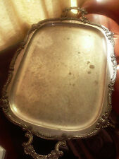"VINTAGE BIRMINGHAM SILVER CO. SILVER ON COPPER FOOTED SERVING TRAY 17"" BY 28.5"""