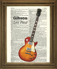 GIBSON LES PAUL PRINT: Vintage Electric Guitar on ANTIQUE DICTIONARY PAPER!