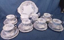 ROYAL ALBERT - SILVER MAPLE - 21 PC DESERT / TEA SET FOR 6 + CREAM & SUGAR SET