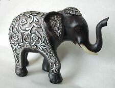 Elephant Ornament Brown Resin With Silver Leaf & Flower Design / Boxed
