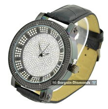 mens giant gunmetal black diamond 60 mm clubbing watch ice out dial leather