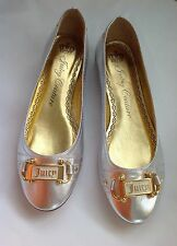 **7.5** Juicy Couture Smells Like Couture Silver Gold Leather Flats Shoes ITALY